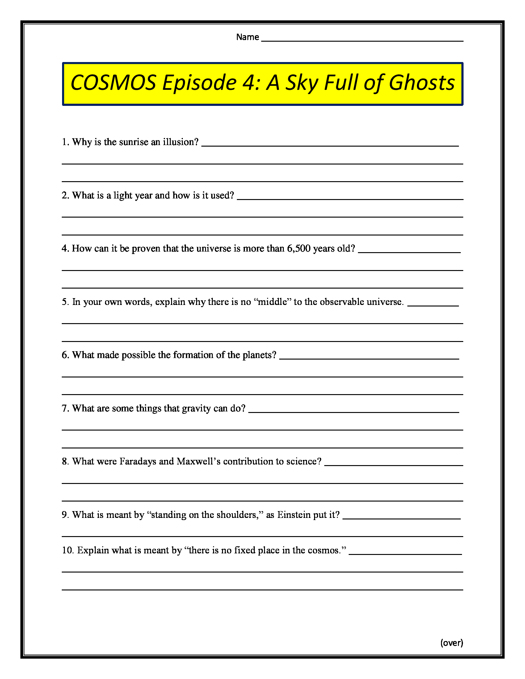 Cosmos Episode 4 A Sky Full Of Ghosts Worksheet