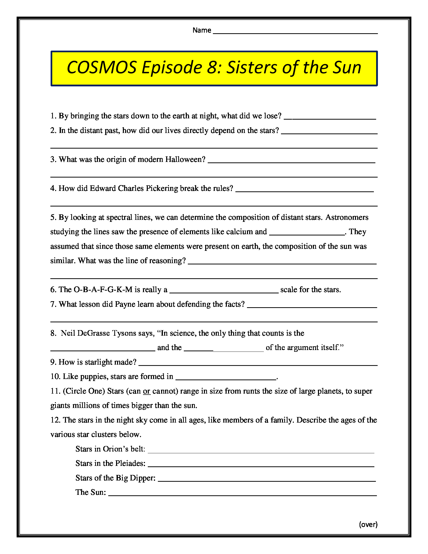Cosmos Episode 8 Sisters Of The Sun Worksheet