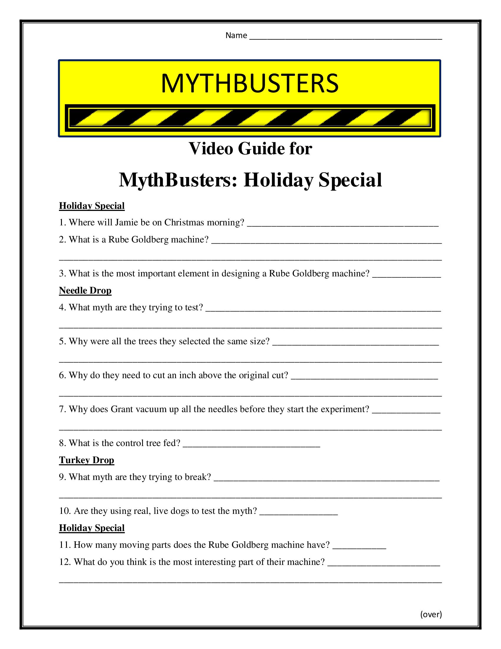 Mythbusters Holiday Special Worksheet Season 5