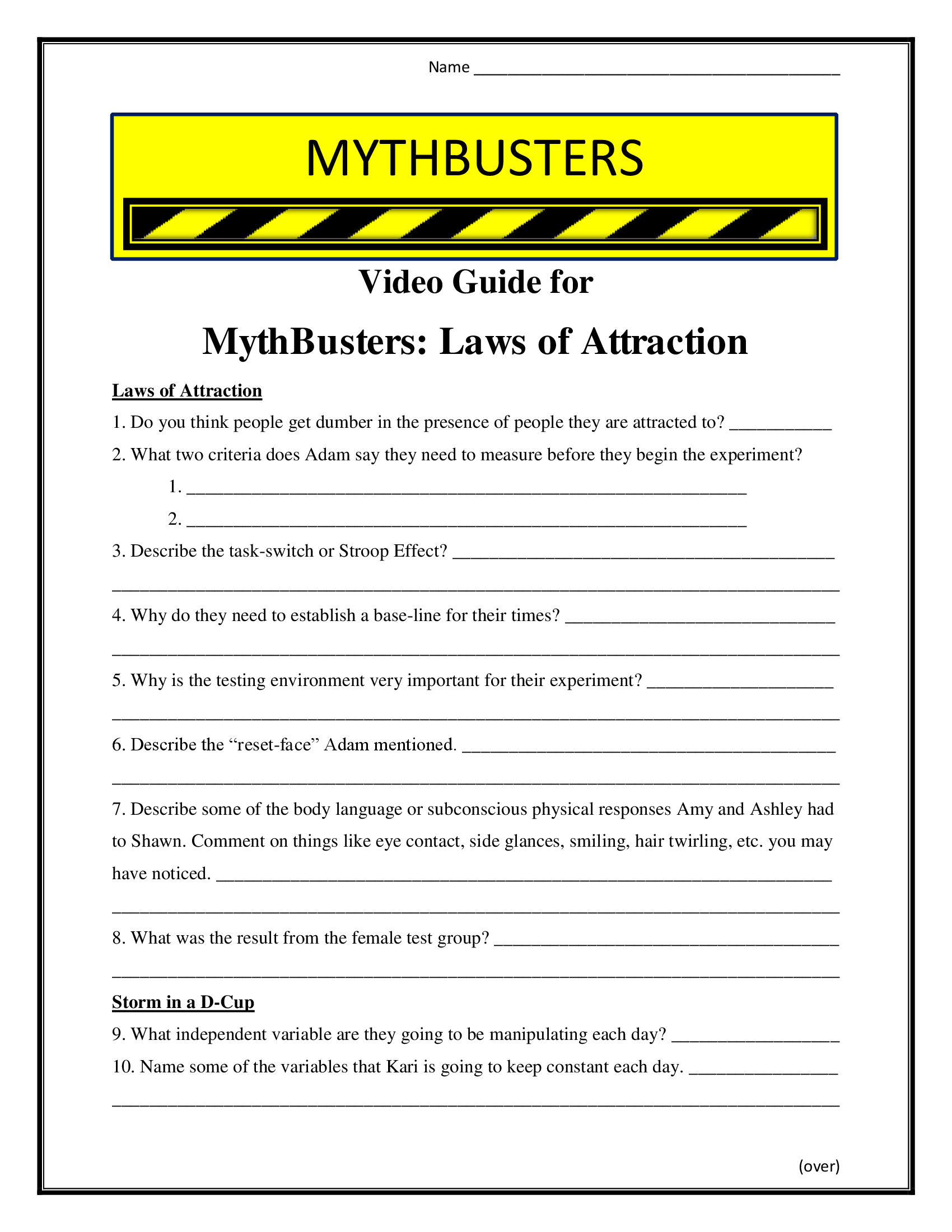 Mythbusters Laws Of Attraction Worksheet Season 9