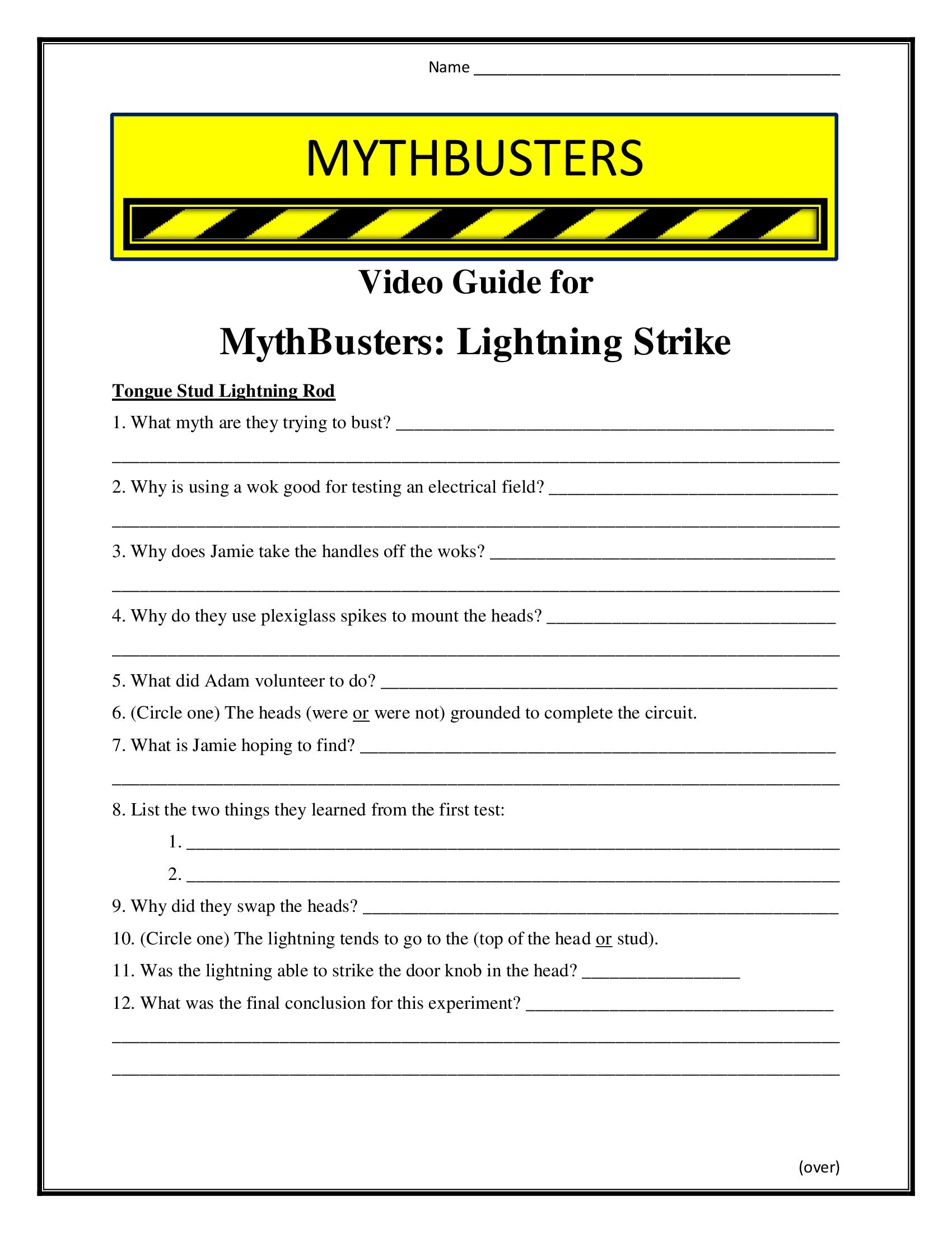 Mythbusters Lightning Strike Worksheet Season 1