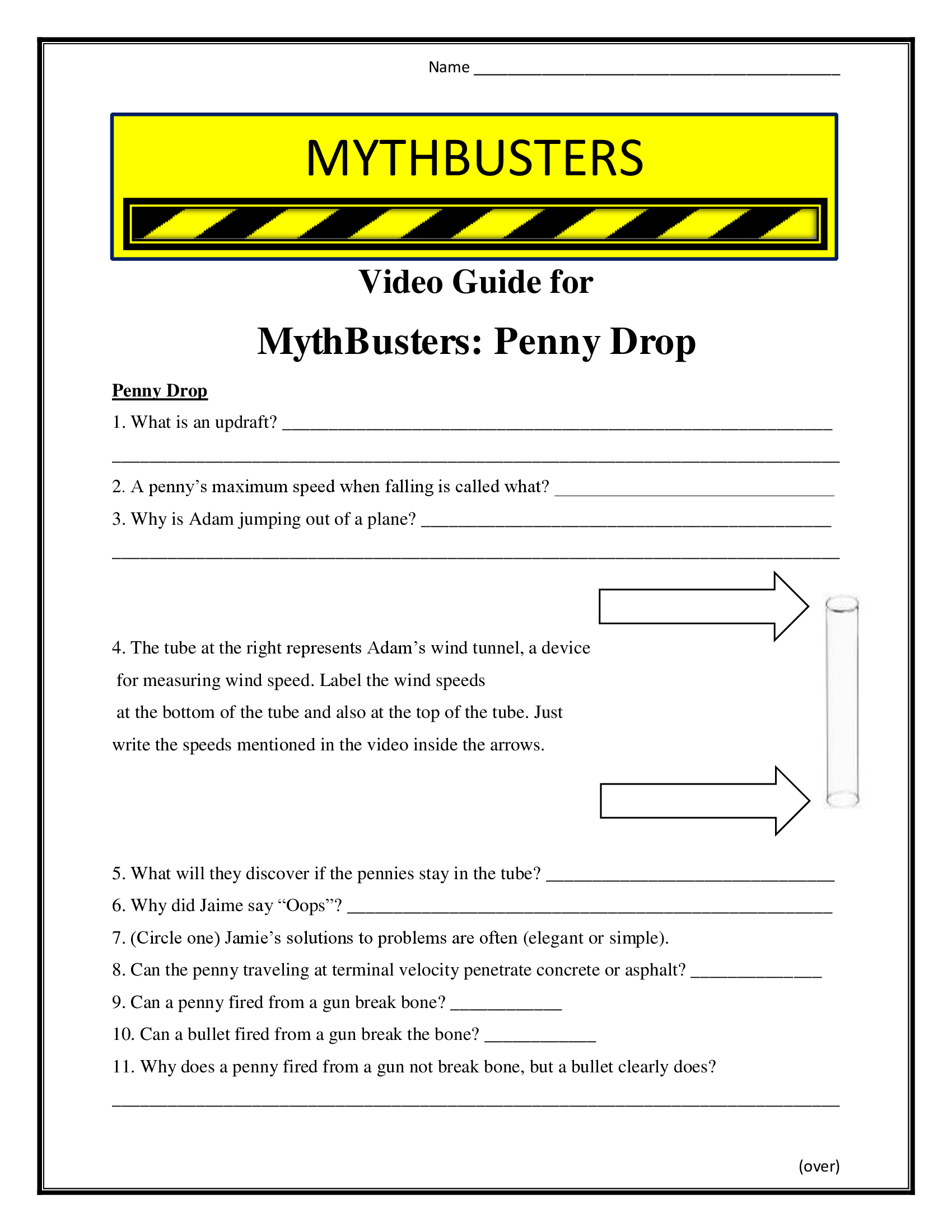 Mythbusters Penny Drop Worksheet Season 1