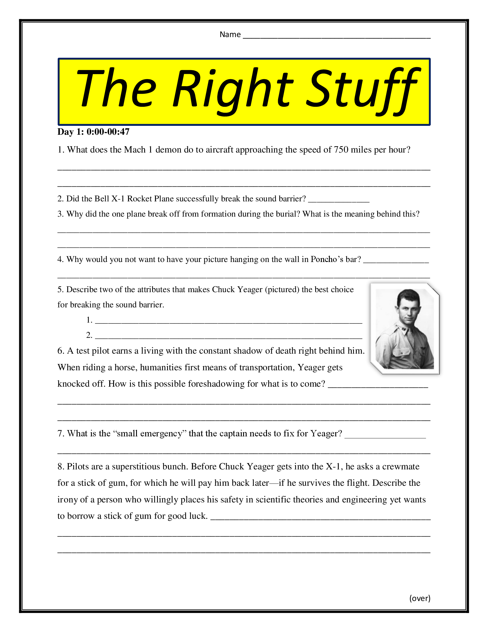 The Right Stuff Movie Worksheet Pg