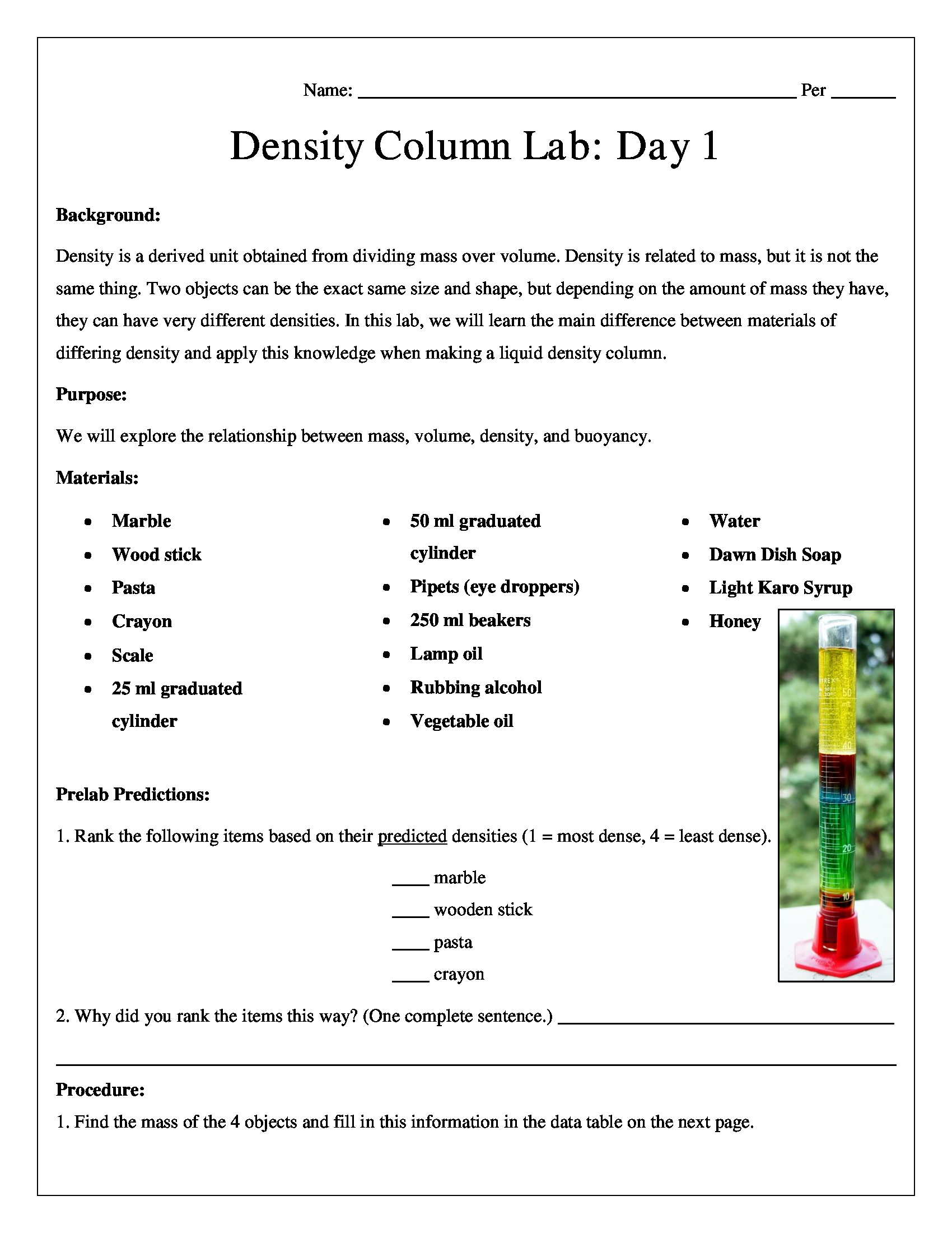 Liquid Density Column Chemistry Lab