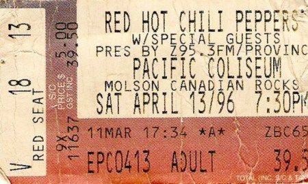 red hot chili pepper pacific coliseum vancouver 1996 ticket stub