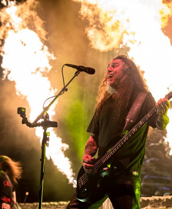 Tom Araya of Slayer performing at Pacific Coliseum in Vancouver, BC on May 16th, 2018