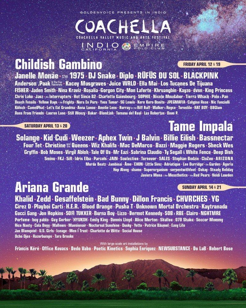 Coachella Valley Music and Arts Festival 2019 at Empire Field Stadium (Indio, CA) - lineup poster