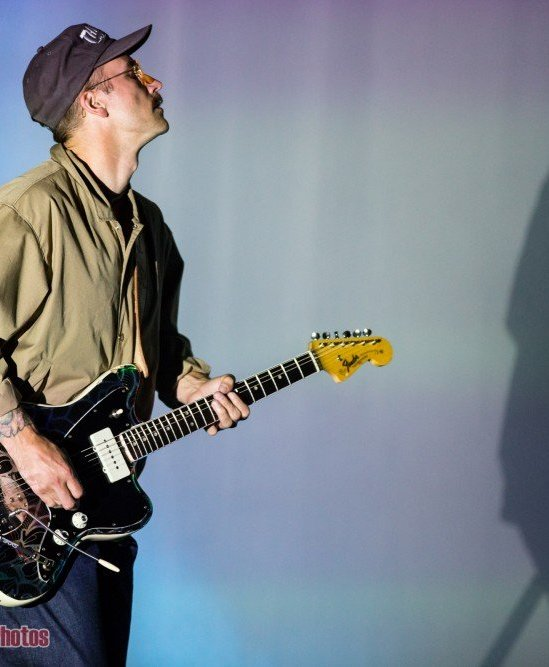 Singer John Gourley of Portugal. The Man performing at Deer Lake Park in Burnaby, BC on September 1st, 2018