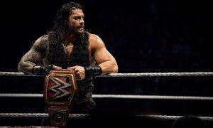 Wrestler Roman Reigns performing with WWE Live at Abbotsford Centre in Abbotsford, BC on September 30th 2018