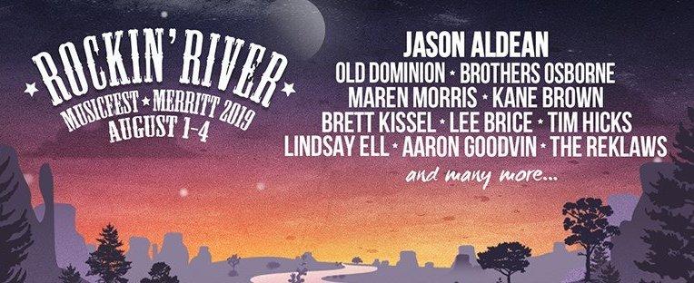 Rockin River Music Festival 2019 ft. Jason Aldean + Old Dominion + Brothers Osborne + Maren Morris + Kane Brown + Brett Kissel in Merrit, BC
