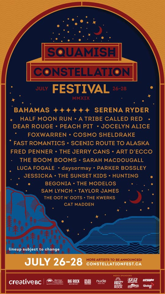 Squamish Constellation Festival 2019 lineup poster admat banner