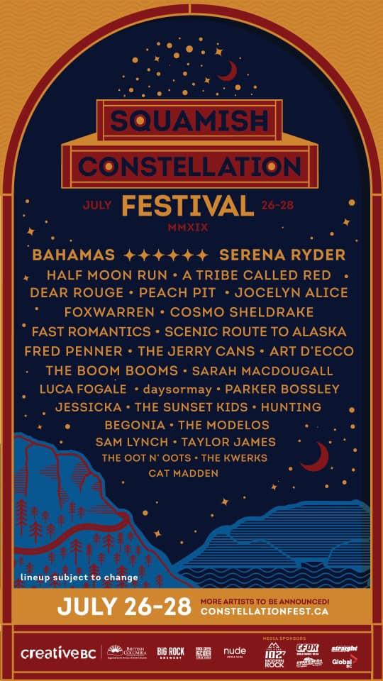 Squamish Constellation Festival 2019 lineup poster admat banner