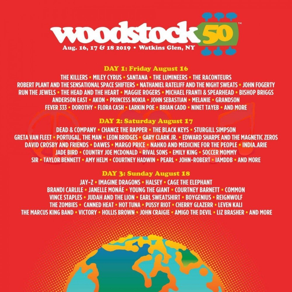 Woodstock 50 lineup poster, for the 2019 festival