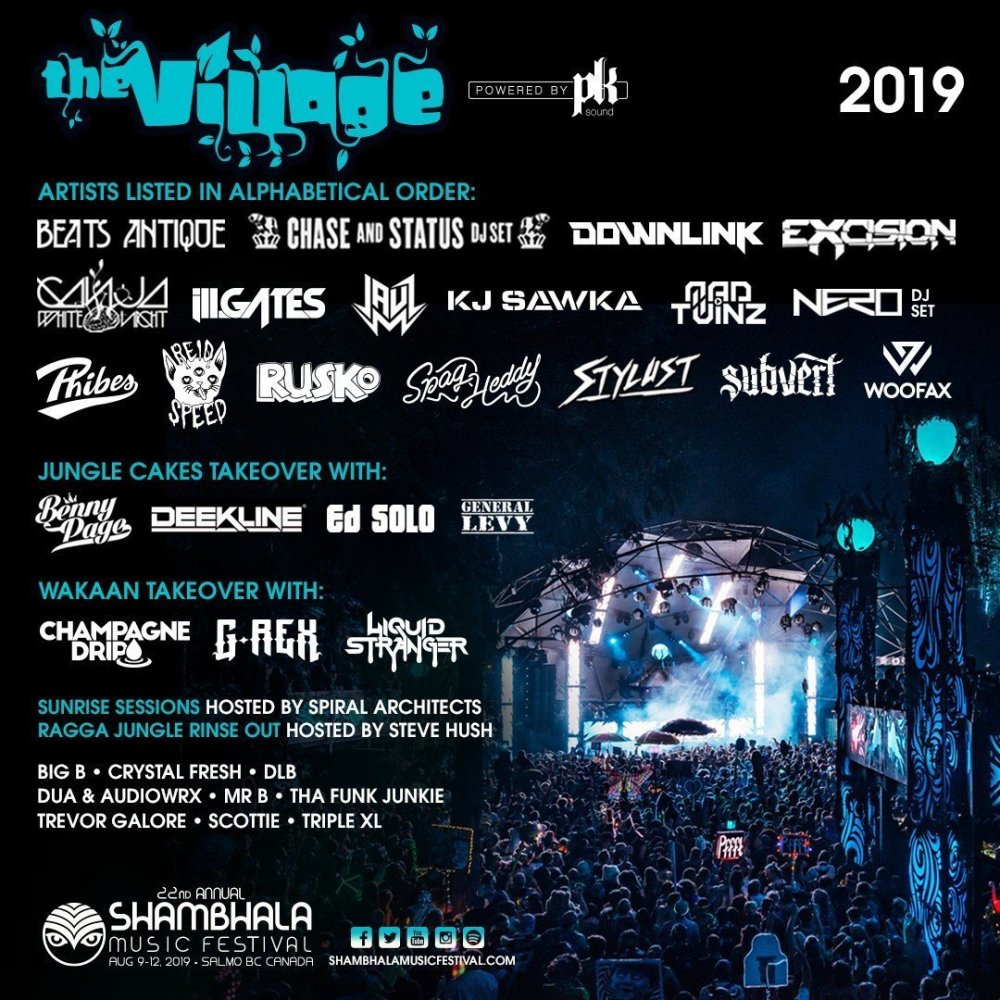 The Village stage lineup - Shambhala Music Festival 2019 poster admat
