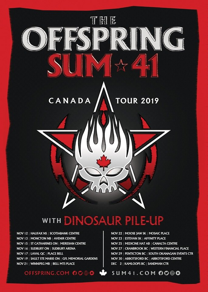 The Offspring + Sum 41 Announce 2019 Joint Canadian Tour - official poster