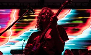 Lead singer Stu Mackenzie of King Gizzard & the Lizard Wizard performing at Harbour Convention Centre in Vancouver, BC on August 17th, 2019