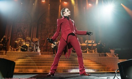 Singer Tobias Forge of Swedish rock band Ghost performing at the Pacific Coliseum in Vancouver, BC on September 20th 2019