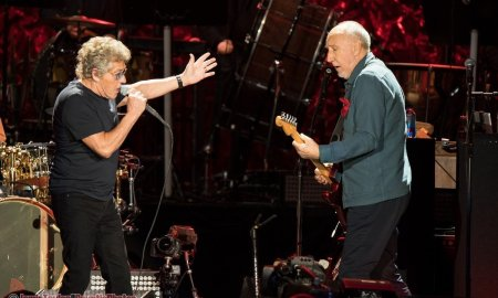 Singer Roger Daltrey and Guitarist Peter Townsend of English rock band The Who performing at Rogers Arena in Vancouver, BC on October 21st, 2019