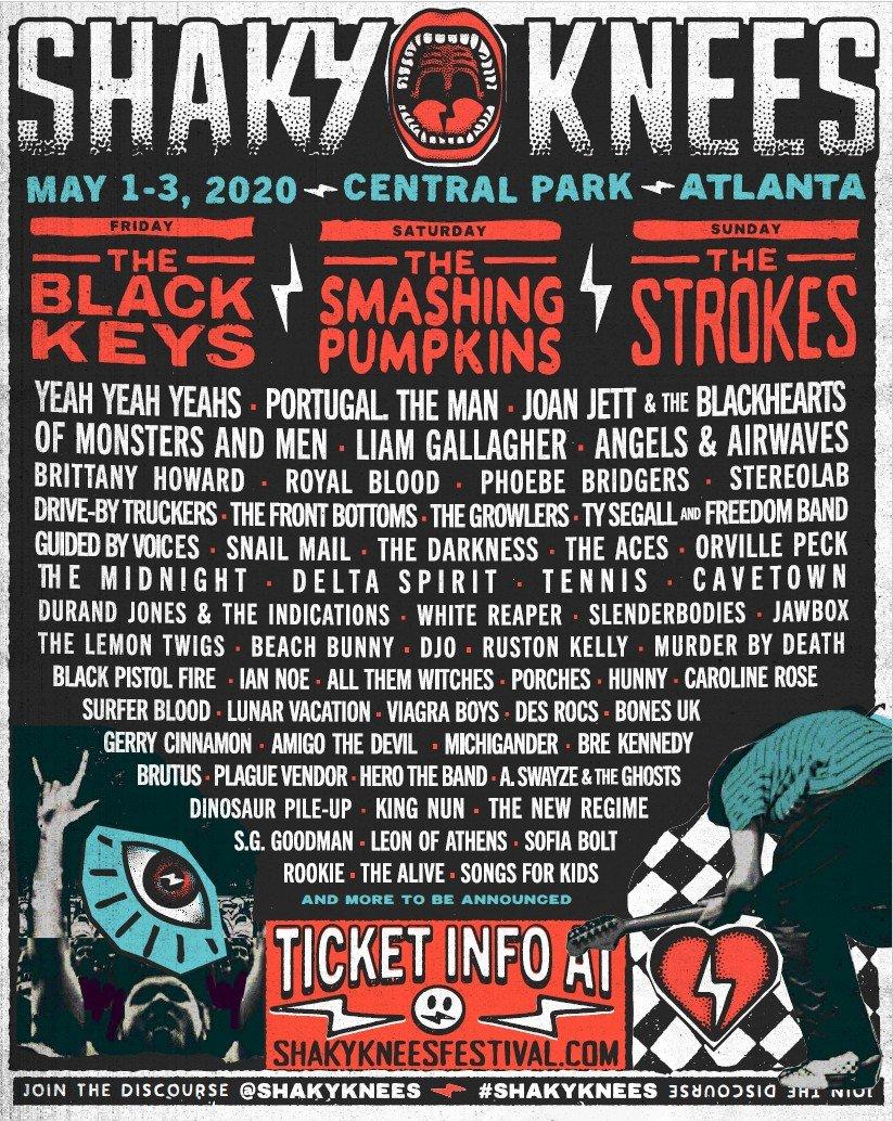 Shaky Knees Music Festival 2020 lineup poster admat