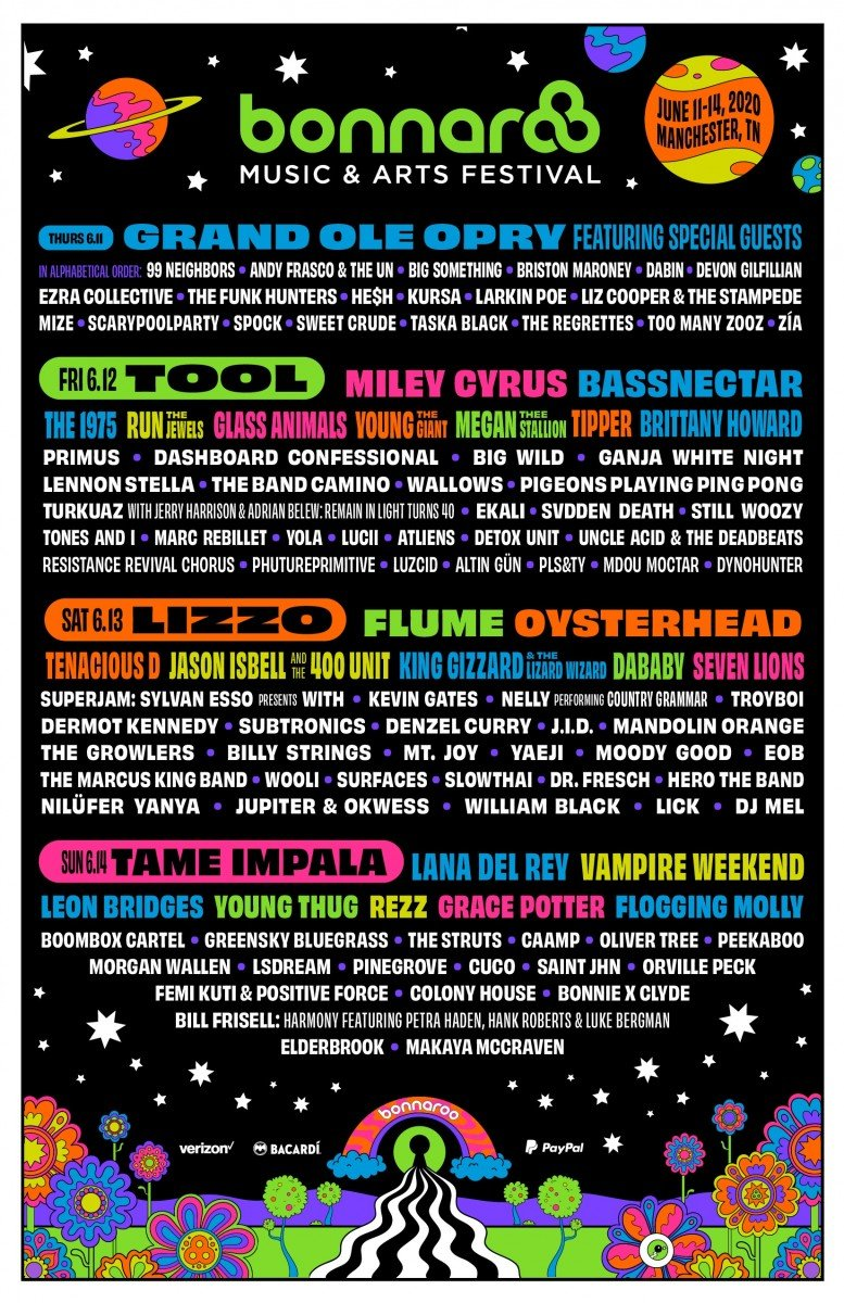Bonnaroo Music and Arts Festival 2020 lineup poster