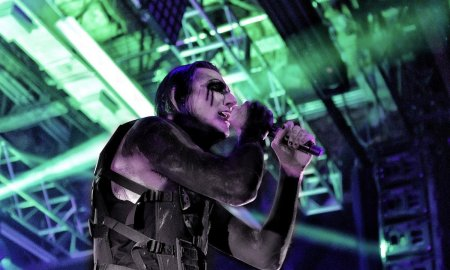 Singer Chris of Motionless In White performing at House of Blues in Anaheim, California on January 9th 2020