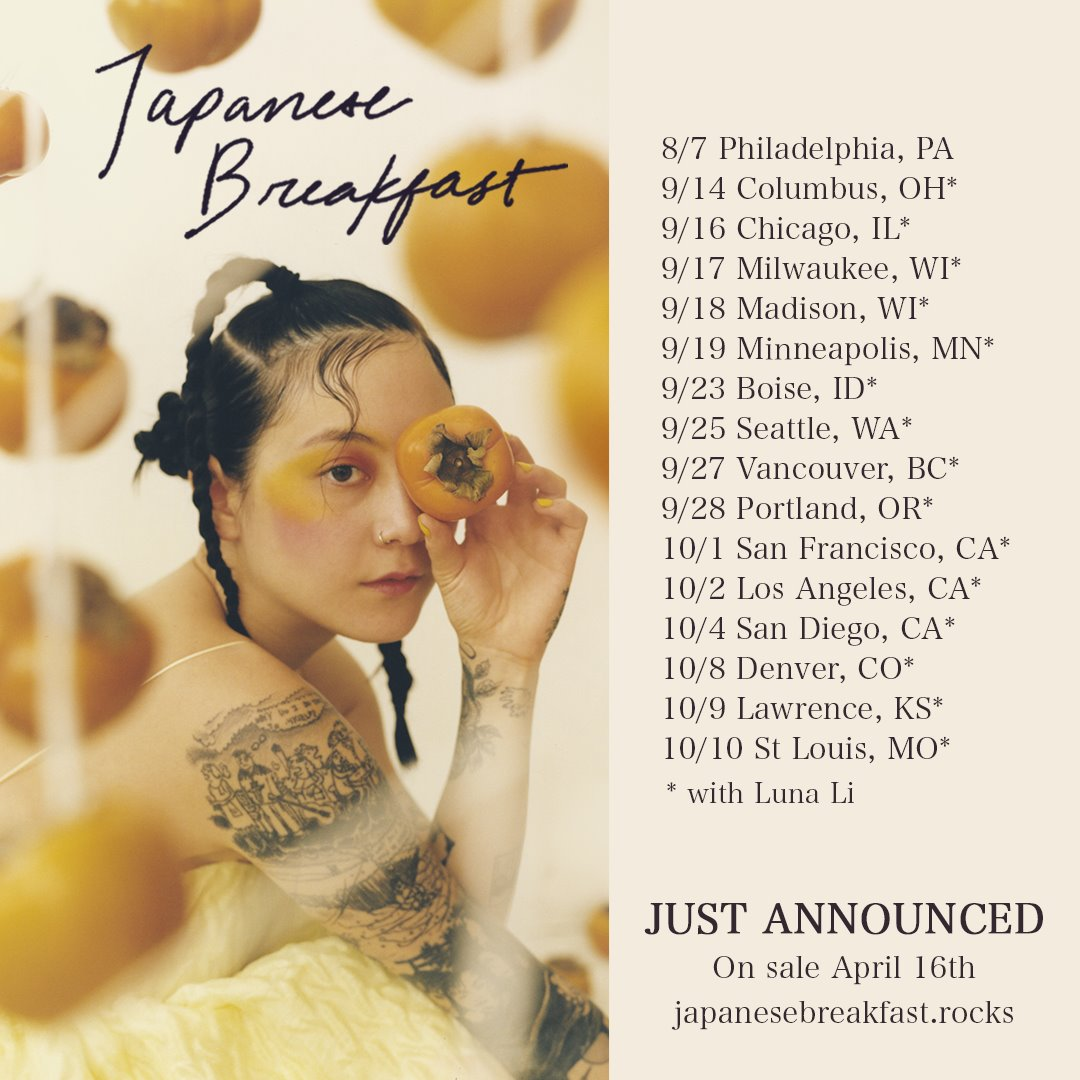 Japanese Breakfast 2021 fall tour poster dates