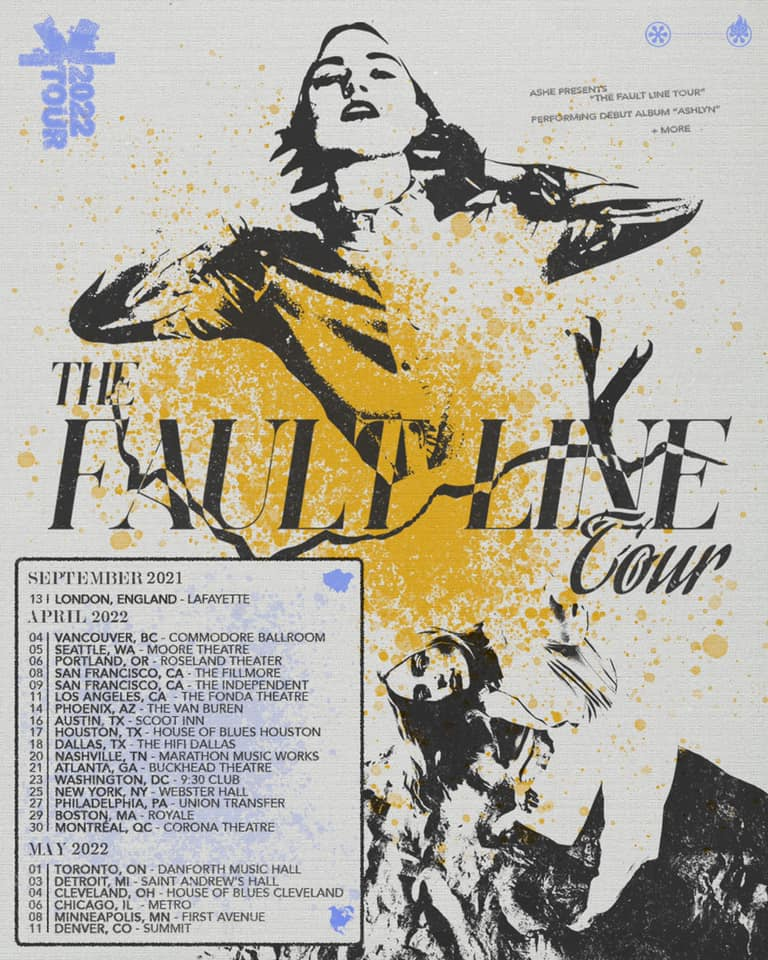 """Ashe  """"The Fault Line Tour"""" 2022 poster dates"""