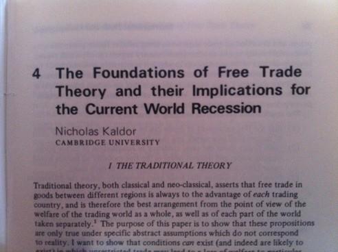 Nicholas Kaldor On Free Trade