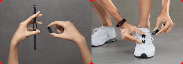 Huawei Band3e può essere indossata al polso, ma anche fissata alle scarpe per ottenere molti dati sul proprio stile di corsa
