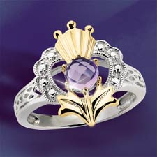 The Concorde Collection Scottish Romance Ring Amethyst 14k Gold Solid Sterling Silver My