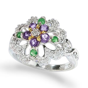The Concorde Collection Violets In The Snow Ring