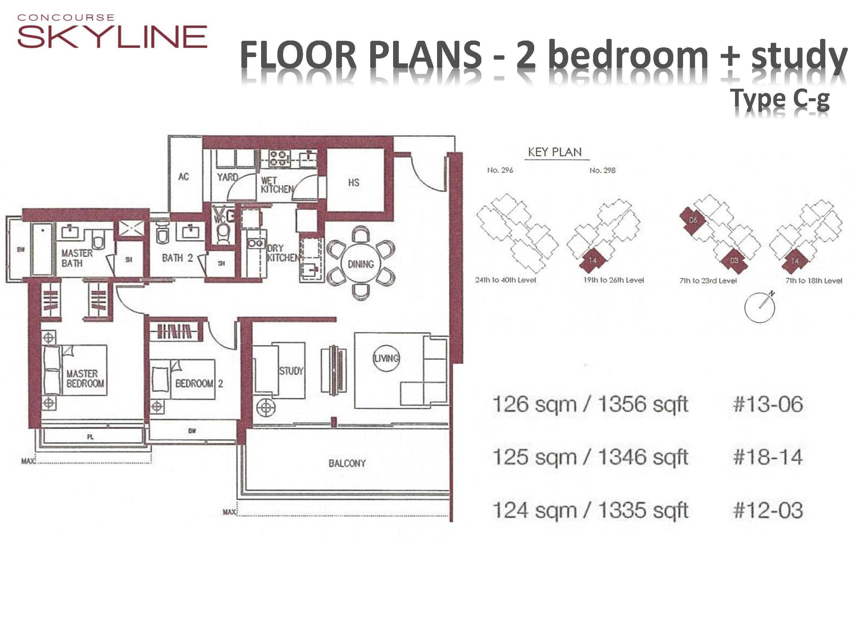 Concourse Skyline 2 Bedroom + Study Type C-g Floor Plans