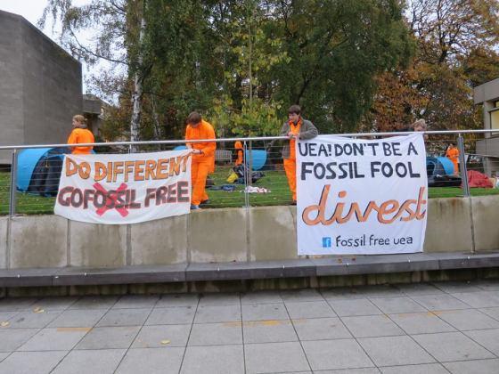 Fossil Free UEA protestors occupy campus
