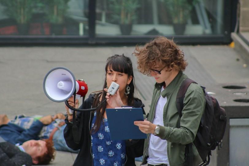 extinction rebellion climate change protest megaphone