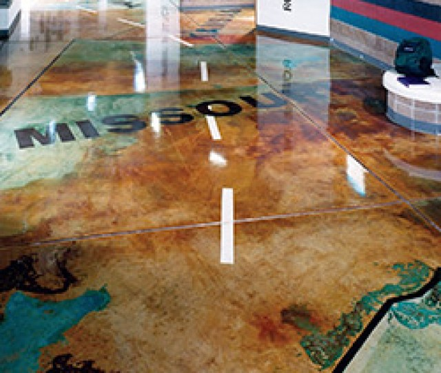 The Use Of A High Gloss Sealer Over A Stained Concrete Floor That Has Been Designed
