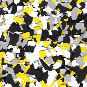 yellow and black epoxy flakes