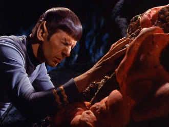 Spock communicates with the Horta, in one of TV's finest dramatic moments.