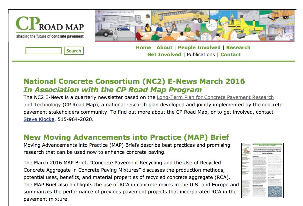 National Concrete Consortium (NC2) E-News March 2016 In Association with the CP Road Map Program
