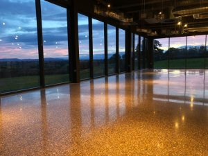 Large Polished Concrete Floor Gold