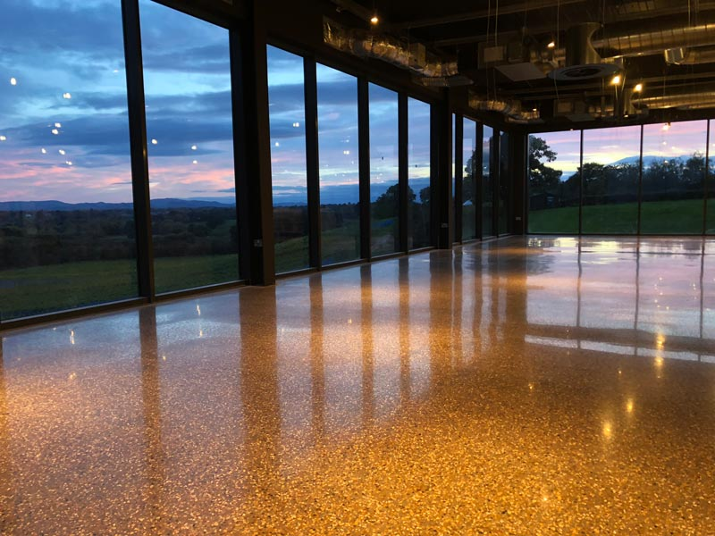 Large Open Polished Concrete Floor Gold