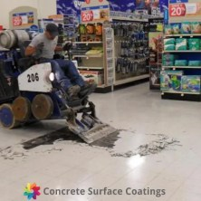 a machine removing vinyl tiles in a supermarket