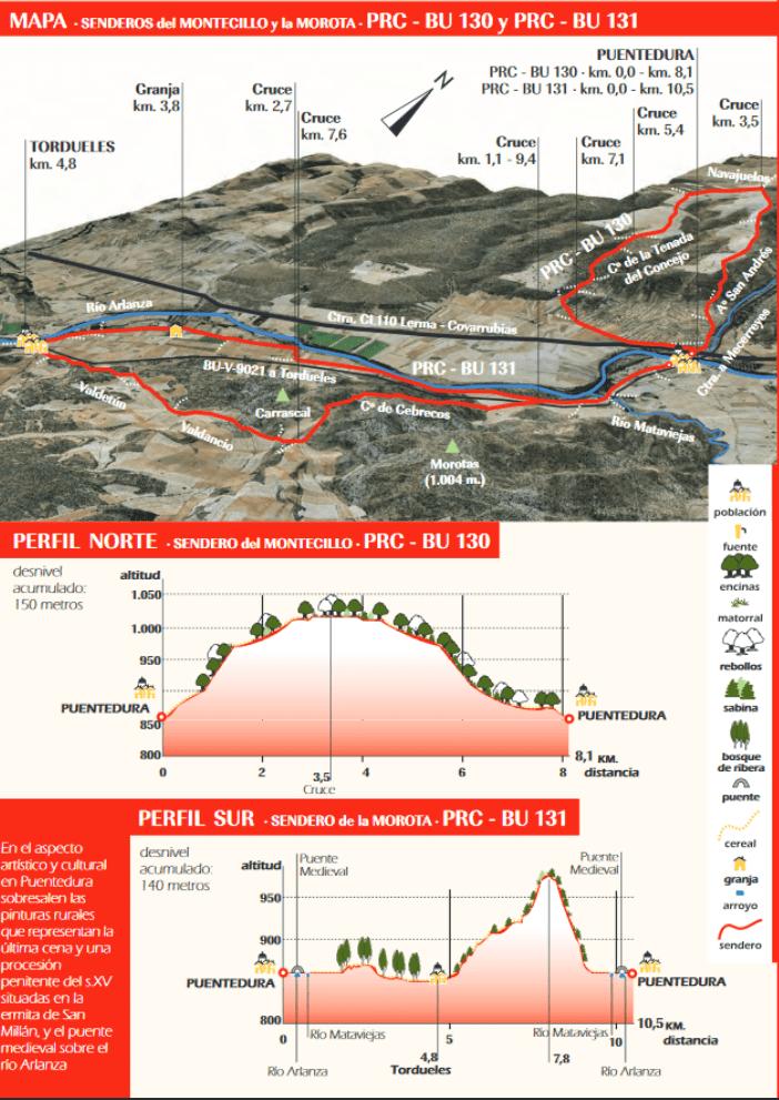 Mapa senderos PR-BU-130 y PR-BU-131
