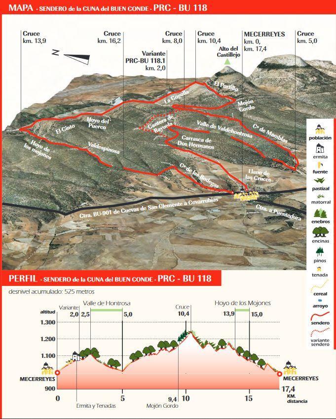 Mapa sendero PR-BU-118. Sendero de la Cuna del Buen Conde