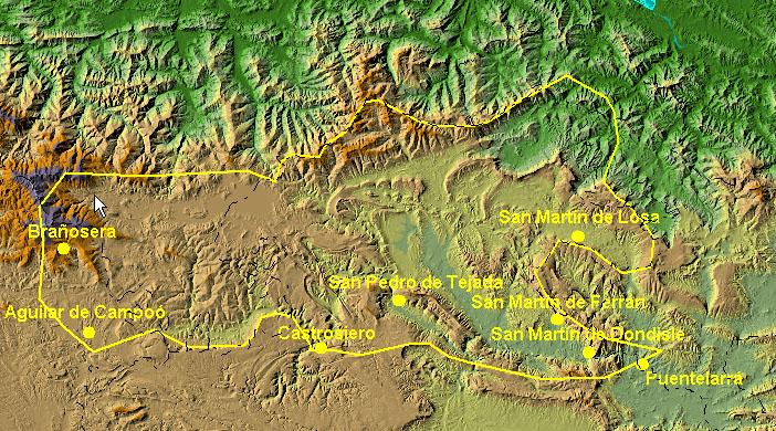 Extensión aproximada del condado de Castilla antes del 860