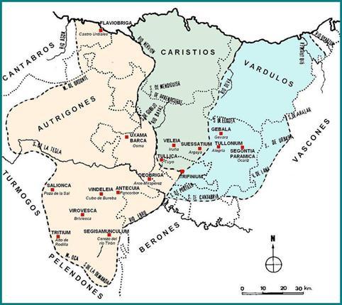 Várdulos, caristios y autrigones en época romana