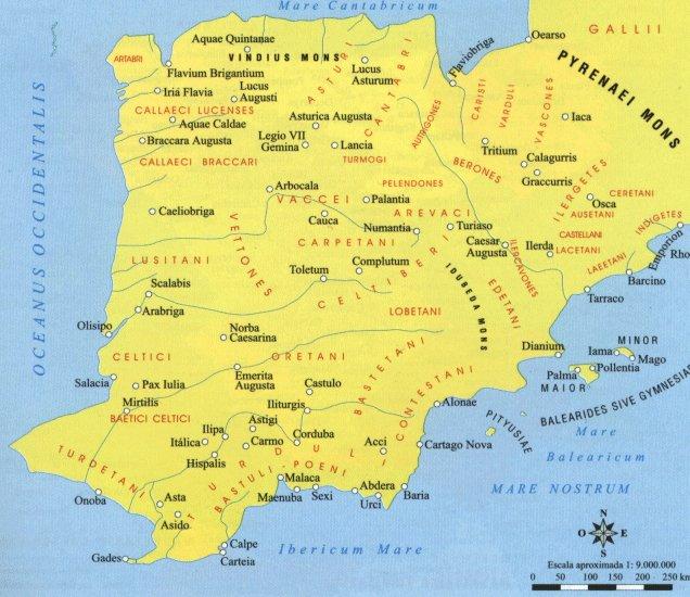 Mapa de Hispania según Ptolomeo