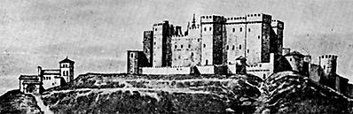 Grabado del castillo de Burgos en el siglo XVI