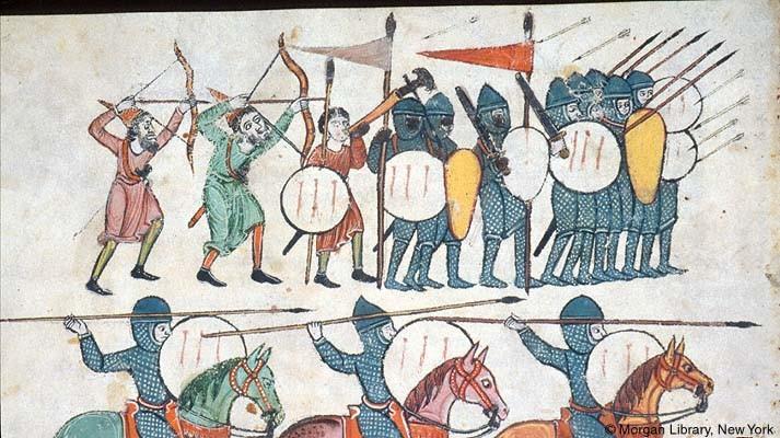 Peones andalusíes. Arqueros con arco compuesto. Beato de las Huelgas (c. 1220)