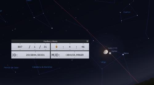 Júpiter y la Luna noche 30 al 31 de enero de 807