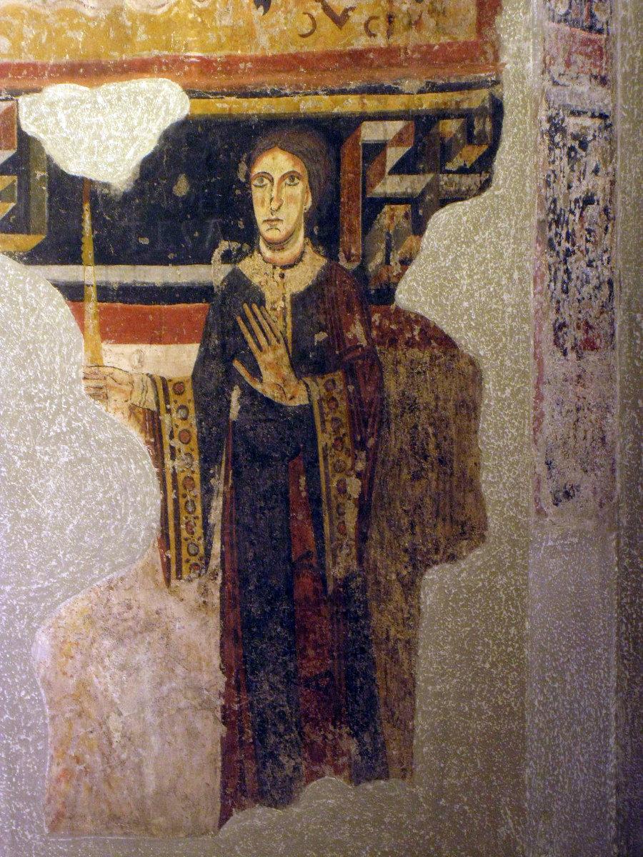Retrato de Lucía de Pallars en un mural de San Pedro de Burgal